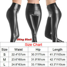 US Women Leather Wet Look Shiny Slim Stretch Pant High Elastic Waist Leggings AM