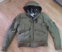 Levis Coat Jacket Hooded Detachable Fur Military Army Green Size L