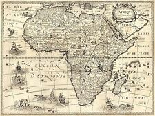 MAP ANTIQUE CONTINENTAL AFRICA BERTIUS ART POSTER PRINT LV2095