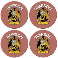 Round Coaster Simpson English Family Surname Round Cork Backed Coasters Set of 4
