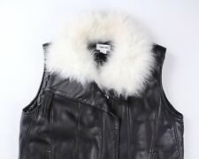890b8006a0f0 Helmut Lang Mens Black Leather Vest Goat Shearling S Small  1295