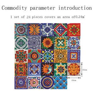 24Pcs Peel And Stick Tiles Transfer Sticker Kitchen Self-Adhesive Wall Tile Pain