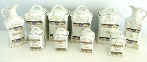 ANTIQUE CANISTER SET LUSTER COFFEE TEA SPICE BOX PORCELAIN French Country Opal
