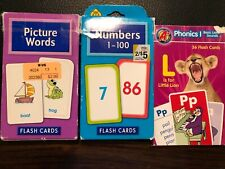 Lot Of 3 Flash Cards Phonics 1 Letter Sounds, 1-100 Numbers, Picture Words Guc