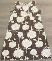 Pretty BODEN Brown White Floral Cotton Sleeveless Summer Dress UK 20 Holidays