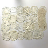 Lot of 33 Vintage Round Circle White/Off-White Crochet/Lace/Embroidered Doilies