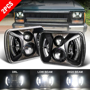 """240W 7x6"""" 5x7"""" LED Headlights Projector Halo DRL For Jeep Chevrolet Express Ford"""