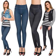Womens Jeans Imitation Stretchy Leggings High Waist Soft Denim Look Pants FS9742