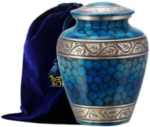 SOULURNS® - Classic and Beautiful Blue Adult Cremation Urn for Human Ashes