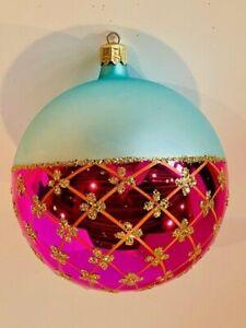 "Beautiful Christopher Radko ""Crown Jewels"" 4"" Christmas Ball Ornament"