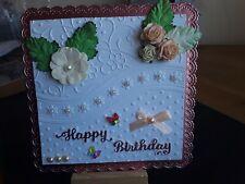 Handmade Doily Edge Frame Birthday Card Topper, Flowers, Sentiment, Gems.