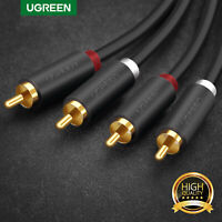 Ugreen 2M Stereo Audio Cable 2 RCA Phono Plugs to Plugs Lead Cord Gold Plated