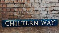 Vintage Old Industrial Pressed Metal English Street Road Name Sign Chiltern Way