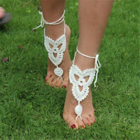 Wedding Bridal Crochet Barefoot Anklet Knit Anklet Sandals Foot Jewelry Beach