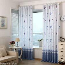 Home Xmas Decor Living Room Bedroom Pastoral Moon Print Sheer Window Curtains