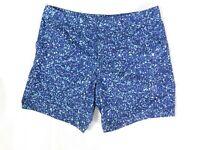 Marc Anthony Navy Blue Aqua White Splatter Print Board Shorts Swim Trunks - 36
