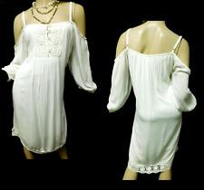 Maurices white crinkled floral crochet trim plus size cold shoulder dress 3,3X