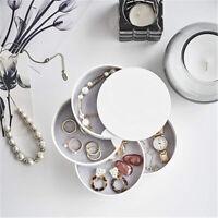 1Pc 360° Rotating Jewelry Storage Box 4 Layers Portable Travel Jewellery Holder