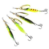 4Pcs Spinner Baits Fishing Lures Spinnerbait  Trout Metal Spoon-Willow-15g/9cm