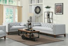 LOW PROFILE TUFTED GREY LINEN LIKE SOFA COUCH LIVING ROOM FURNITURE