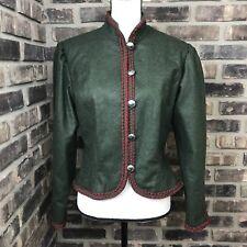 HELLER TRACHT Women's sz 38 SCHURWOLLE WOOL made in Austria Blazer JACKET Green