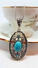 "Turquoise Tibetan Silver Filigree Necklace Box Chain 18"" Women's Quick Shipping"