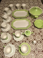 Limerick Ironstone Independence Interpace Japan lime green & white 1970s 25pcs