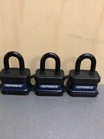 BRINKS  40mm Weather Resistant Padlock 3 Pack (No Key)