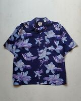 Men's Indigo Hawaiian Shirt Indigo Floral Print Brian Brothers   Sz L