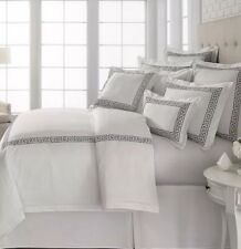 Southern Living Greek Key Full  / Queen Duvet Cover Embroidered, White Black