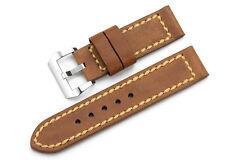 24mm Brown Echtes Asso Leder Armband Armband aus Edelstahl Für Panerai Watch
