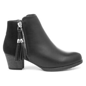 Lilley Girls Black Heeled Ankle Boots with Tassle Size UK 10,11,12,13,1,2,3,4,5