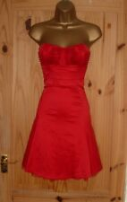 Jane Norman red satin strapless party prom evening cocktail dress size 8 10