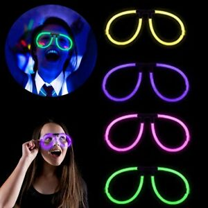 4x GLOSTICK PARTY GLASSES Fancy Dress Club Hen Night Stag Do Neon Glow Sticks UK