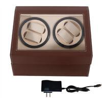 4+6 Auto Rotation Leather Watch Winder Storage Display Case Box Brown NEW!!