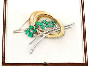 6.07 ct Emerald and 4.05 ct Diamond, 18 ct Yellow Gold and Platinum Brooch