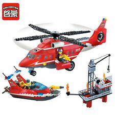 Fire Rescue Series Sea Boat Helicopter Building Diy Blocks Minifigures Gift Toys