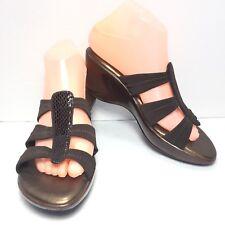 Women's WHITE MOUNTAIN Brown Croc Print Slip On Mules Size 7.5 M