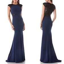 $448 CARMEN MARC VALVO Infusion NAVY & BLACK Sequined MESH Back TRUMPET GOWN 6