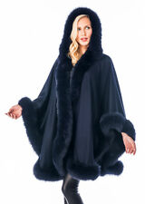 Real Fox Fur Trimmed Cashmere Cape with Hood Detachable - Navy