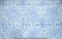 Indian 100% Cotton Voile Fabric Blue Multi Sewing Hand Block Print Craft 10 yard