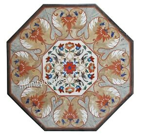 30 Inch Marble Inlay Table Top Handmade Dinette Table with Antique Art at Border