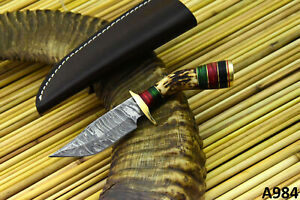 Custom Damascus Steel Skinning Hunting Knife Handmade With Stag Horn Handle A984