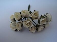 PACK 12 CREAM MULBERRY PAPER ROSES EMBELLISHMENT FOR CARDS/CRAFT