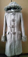 Quality H&M Parka Duffle Coat Jacket Wool Blend Grayish Beige Size 8