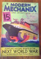 MODERN MECHANIX MAGAZINE 1934 STARTLING MILITARY SECRETS OF THE NEXT WORLD WAR