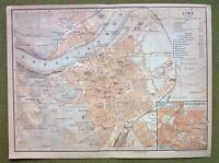 AUSTRIA Linz Town Plan Railroads - 1911 MAP ORIGINAL Baedeker Genealogy