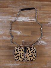 SAINT LAURENT Paris pony hair leopard monogram chain satchel shoulder bag - NWT