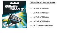 Gillette Mach3 Men's Shaving Blades for Razor Handle, Mach 3, 8, 12 Cartridges