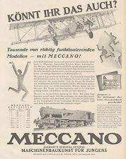 J1501 MECCANO - Treno - Aereo - Pubblicità grande formato - 1929 Old advertising